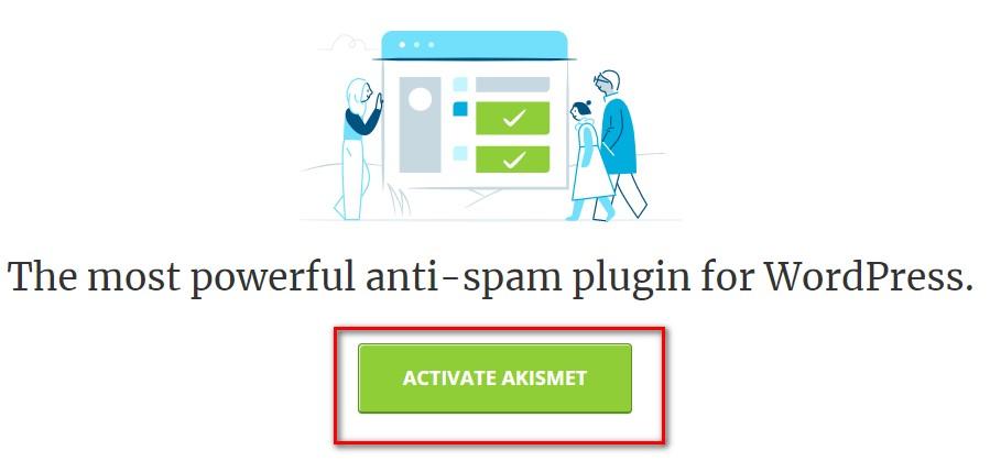 ACTIVATE AKISMETをクリック